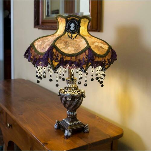 Table Lamp Vintage Victorian Style Scalloped Beaded Fabric Shade Cameo Brooch