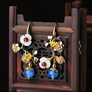 Chinese Plum Flower Earrings Ear Stud Pair 14k Gold Plating Shellfish Agate