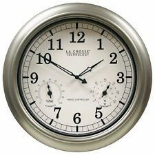La Crosse Technology WT-3181PL-INT 18 inch Atomic Outdoor Clock with Temperat...