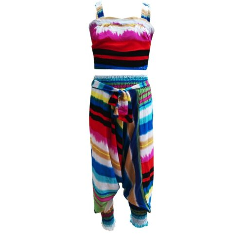 Girls Kids Two Piece Shirred Rainbow Summer Printed Harem Trouser Top Set Age 4