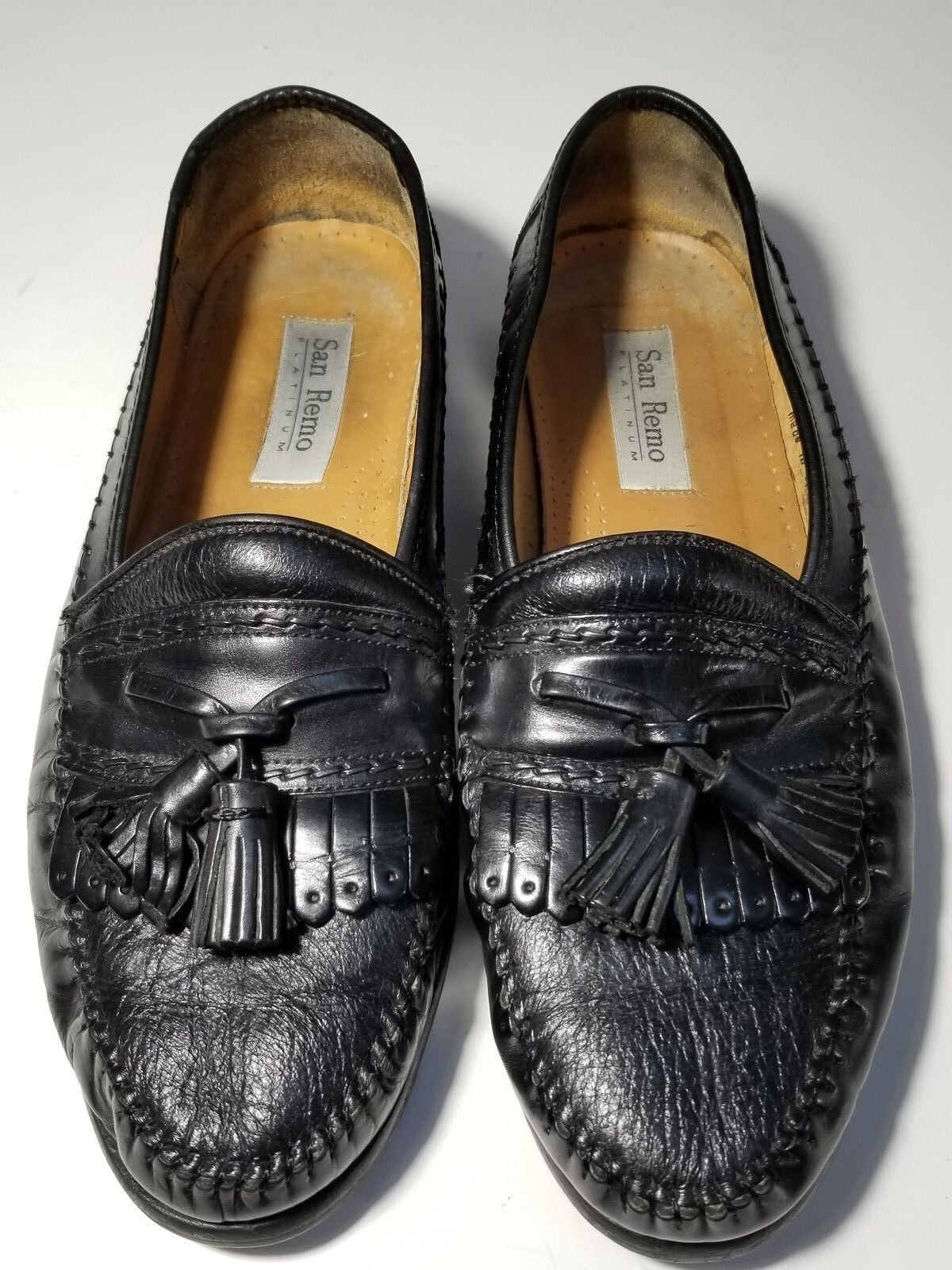 San Remo Platinum Men's Black Leather shoes W Tassels Made in Spain Size 9