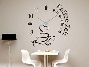 Details zu Wandtattoo Uhr XXL mit Uhrwerk für Küche Spruch Kaffee Zeit  Kaffeetasse Bohnen