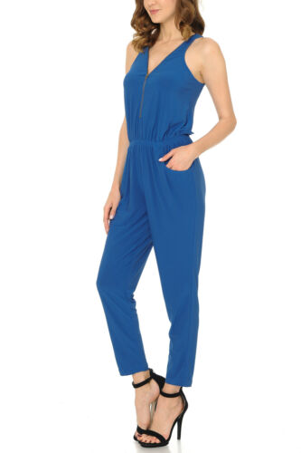 Auliné Collection Womens Solid Sleeveless Front Zip Racerback Pocket Jumpsuit