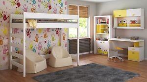 Kids Children Juniors Loft Bed+Mattress 140x70/160x80/<wbr/>180x80/180x90/<wbr/>200x90
