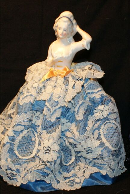 Antique  Half doll pin cushion blue lace victorian  figural women  8 3/4