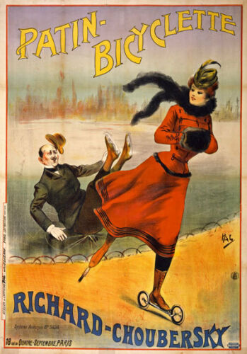 AD78 1890/'s Vintage French Bicyclette Skating Advertisement Poster Print A4