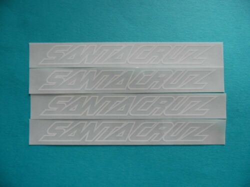 "SANTA CRUZ  SANTACRUZ  white on clear sticker 5 X 0.75/""  weather proof 4pcs"