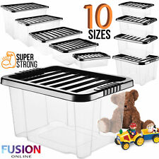 Plastic Storage Boxes Clear Box with Lid Quality Stackable Clip Lids Office Home