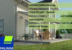 Palram-Terrassenueberdachung-Wetterschutz-Terrassendach-Feria-3x5-4-Alu-grau-Neu