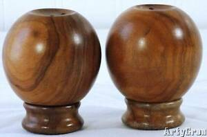 Image Is Loading Vintage Mid Century Olive Wood Salt And Pepper