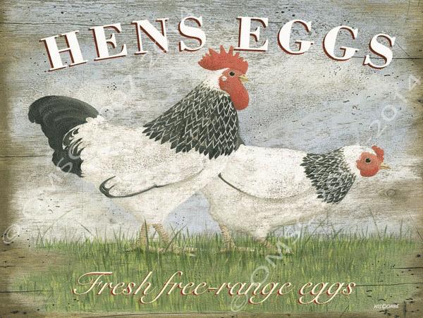 Hens Eggs Metal Sign, Rustic Farmers Market Kitchen Decor
