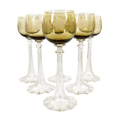 1. Von 6. Weinglas Mit Trompetenförmigen Schaft Und Wellenrand, Josephinenhütte Um Jeden Preis