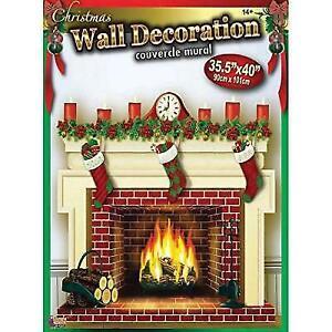 Holiday Fireplace Stockings Backdrop Wall Scene Christmas Xmas Fancy Party Decor