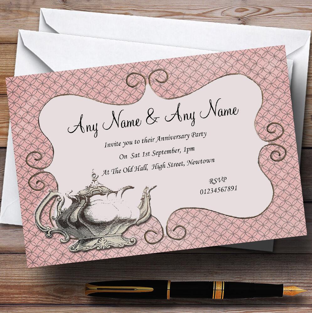 Chic thé vintage thé Chic Mariage Anniversaire Fête invitations personnalisées 8d1c57