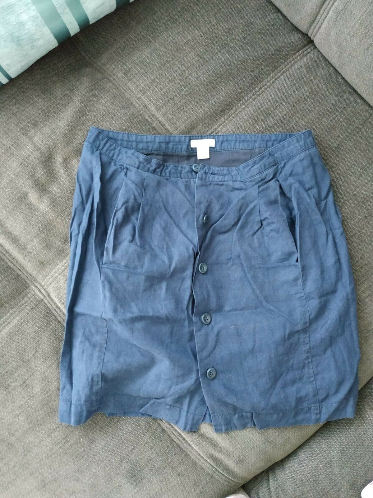 Fossil Womens Skirt Dark Blue Size XS Linen Cotton Buttons Corina Skirt Navy