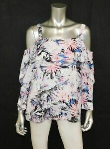 NOT-YOUR-DAUGHTER-039-S-JEANS-NWT-Ivory-Floral-Print-Off-Shoulder-Blouse-sz-M-98
