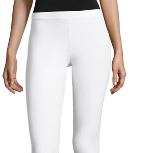 NEW Simply Vera Wang Womens Grommets Skimmer Cotton Leggings White M  8 L XL 1X