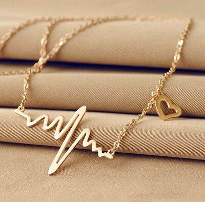 Mode Frauen Gold Silber Herzschlag Anhänger Halskette Edelstahl Kette Geschenk