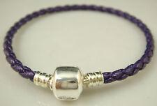 Fashion Leather Bracelet Chain Bangle Fit European Charms Beads Buckle 20cm gq6
