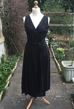 VINTAGE Black Linen LAURA ASHLEY Pleated Embroidered Wrap Over Dress NEW UK16/18
