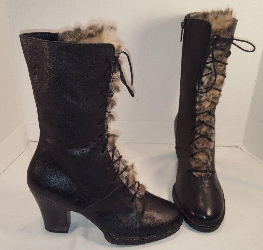marca NEW KUPURI 733 LACE UP UP UP FUR nero LEATHER HEEL stivali donna US 9 39  senza esitazione! acquista ora!