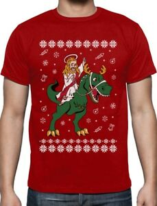 Jesus-Ride-T-Rex-Dinosaur-Funny-Raptor-Ugly-Christmas-T-Shirt-Gift