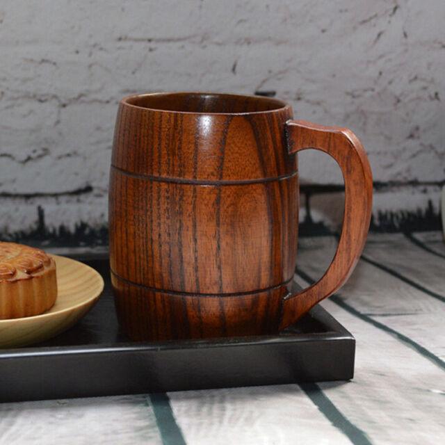 Handcrafted Wood Wooden 400mL Milk Beer Mug Handmade Tea Drink Cup Vintage 1pc