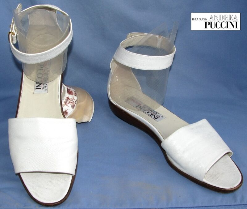ANDREA PUCCINI - SANDALS FLANGE 40 ANKLE ALL LEATHER WHITE 40 FLANGE - VERY GOOD CONDITION 913b76