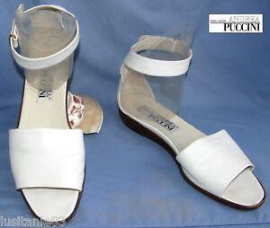 Caviglia Bianco Ottime Puccini 40 In Condizioni Sandali Sposa Pelle Andrea xqYw68td8