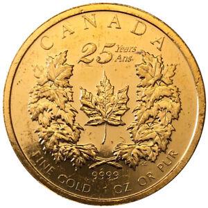 Goldmuenze-Maple-Leaf-Kanada-2004-25-Jahre-ANS-1-oz-Umlaufware