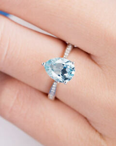 2Ct-Pear-Cut-Aquamarine-Diamond-Solitaire-Engagement-Ring-18K-White-Gold-Finish