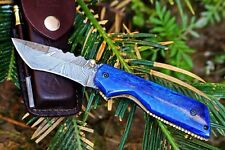 DKC-124 BLUE MIAMI Damascus Tanto Bowie Hunting Handmade Knife Fixed Blade 6.9oz