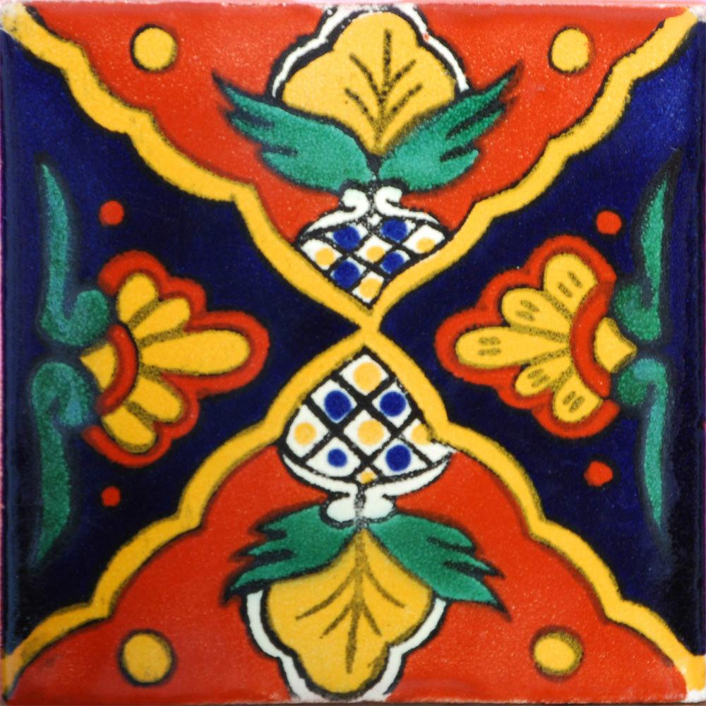 C050- Mexican Handmade Talavera Clay Tile Folk Art 4x4