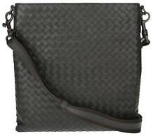 NEW BOTTEGA VENETA  DARK GRAY INTRECCIATO NAPPA LEATHER MESSENGER CROSSBODY BAG