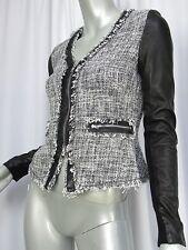REBECCA TAYLOR Jacket 13A016 Size 0 Black Tweedy Knit Lamb Leather Frayed Edges