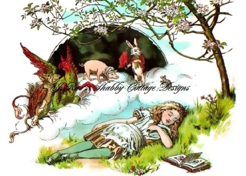 Dreaming Alice In Wonderland Sleeping Fabric Block 5x7 or 8x10 Treated Cotton