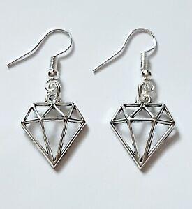 Cool Diamond Classy Tibetan Silver Hook Earrings Girls Ladies Gift Pouch Uk Ebay
