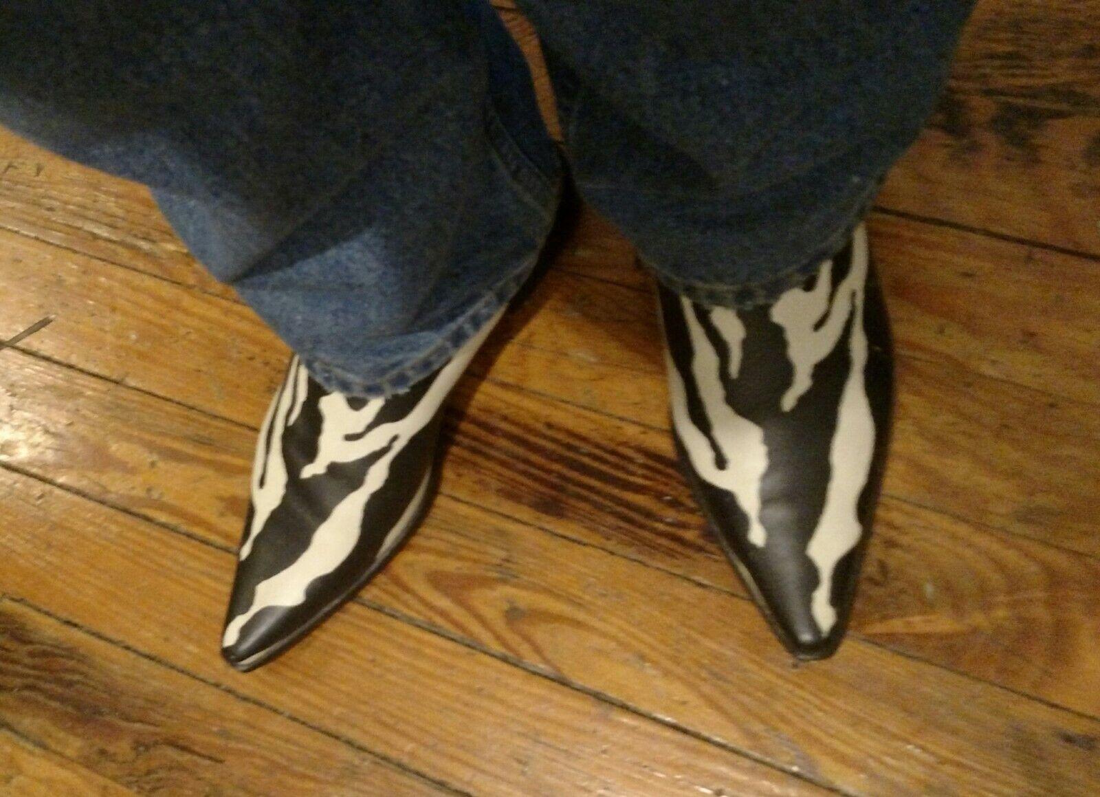 Women's Designer Boots Zebra Animal Print b/w Dol… - image 8