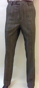 Para-Hombre-Marron-Herringbone-Tweed-Vintage-Retro-Equipada-Pantalones-Smart-Casual