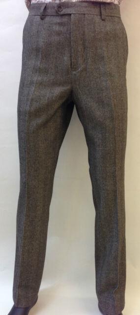 Mens Brown Herringbone Tweed Vintage Retro  Fitted Trousers Smart Casual