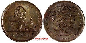 Belgium-Leopold-I-Copper-1856-2-Centimes-XF-KM-4-2