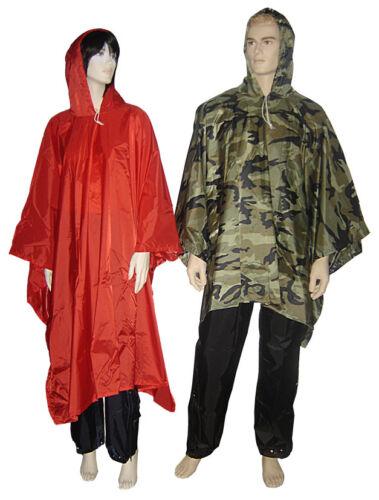 Outback Waterproof Rain Poncho Heavy Duty Nylon Woodland Camo Wet Weather Cover