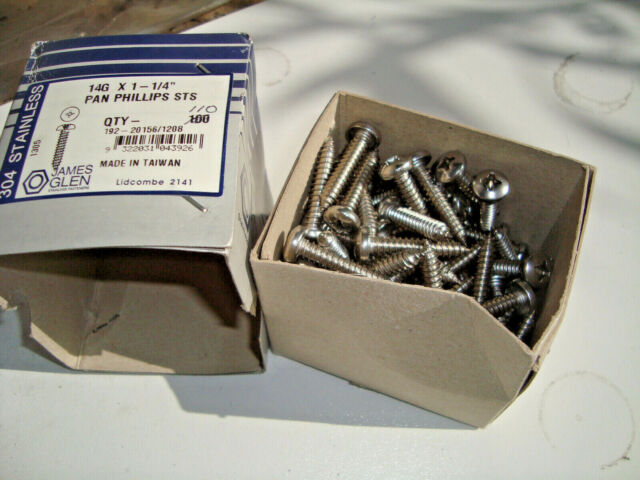 """14g x 11/4"""" Self Tapping Screw Pan Head Phillip Stainless Steel 304 Box of 110"""