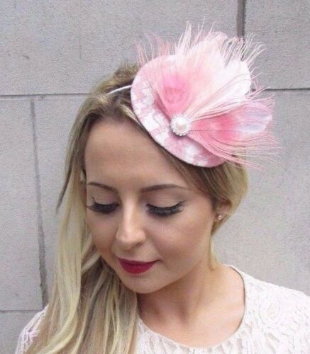 Blush Light Pale Pink White Feather Fascinator Pillbox Hat Races Wedding 3646