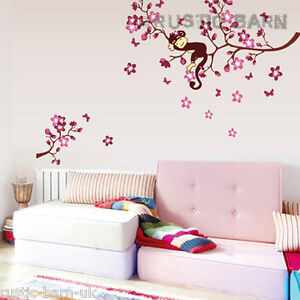 Image Is Loading Sleeping Monkey On Cherry Blossom Home Decor Vinyl