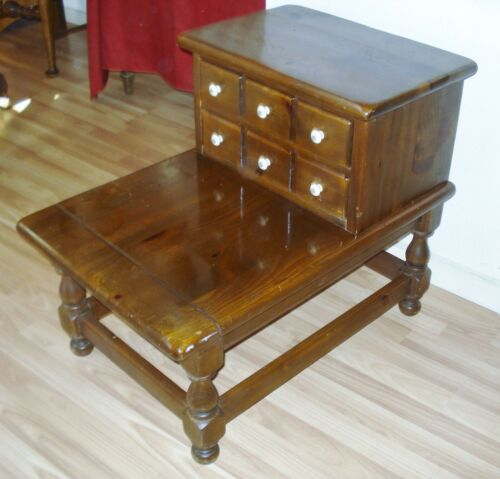 Ethan Allen Old Tavern Step 2 Drawer End Table Dark Antiqued Pine Side  Colonial