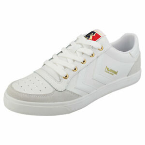 pretty nice 2f8a9 945a0 Details about hummel Stadil Limited Low Mens White Leather & Synthetic  Fashion Trainers