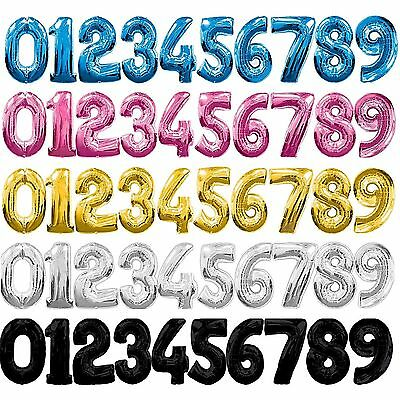 """FOIL NUMBERS 30"""" LARGE HELIUM NUMBER BALLOON 0-9 IN MANY COLOURS!HAPPY BIRTHDAY"""