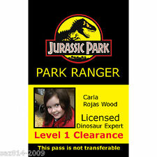 Jurassic Park ID Badge Quality Plastic Novelty ID Card, Toy, Stage Prop,