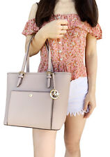 2560e88cdbfb Michael Kors Jet Set Medium Top Zip Snap Pocket Tote Bag Fawn Leather